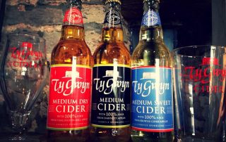 Ty Gwyn Cider glasses and bottles