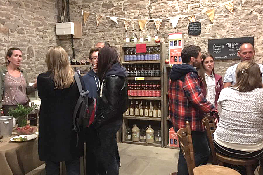 People in the Ty Gwyn Cider shop