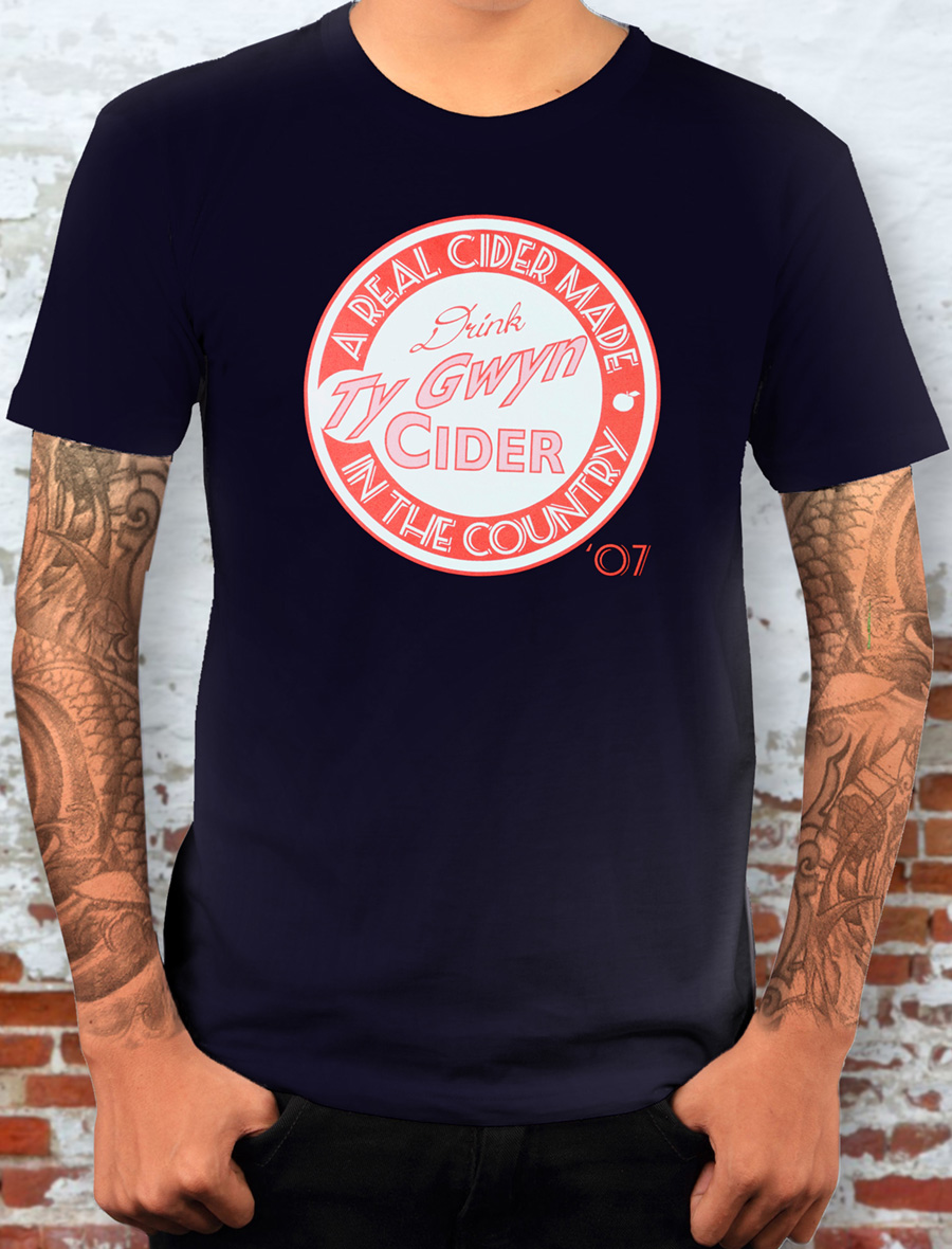 Men's Ty Gwyn Cider 'Drink' T-shirt in navy (front)