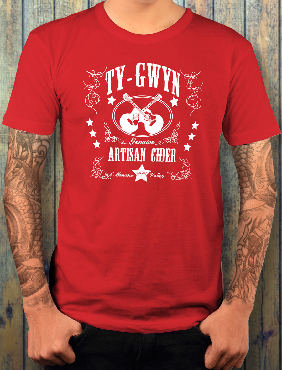 Men's Ty Gwyn Cider 'GTR' T-shirt in red (front)