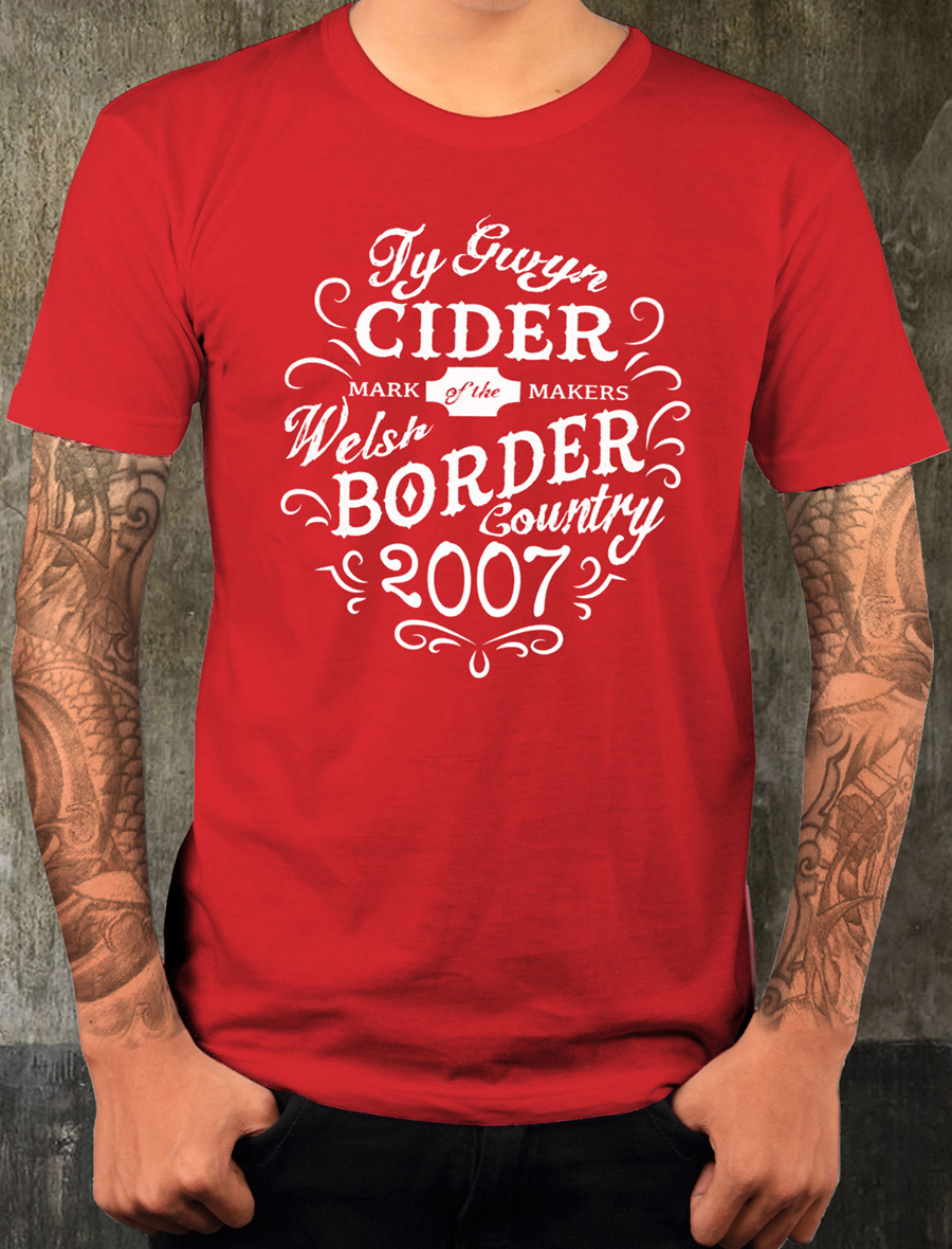 Men's Ty Gwyn Cider 'Makers' T-shirt in red (front)