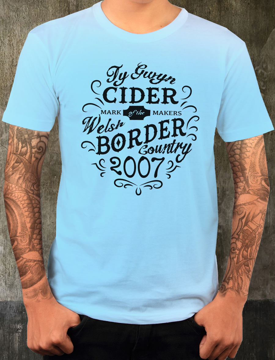 Men's Ty Gwyn Cider 'Makers' T-shirt in sky blue (front)