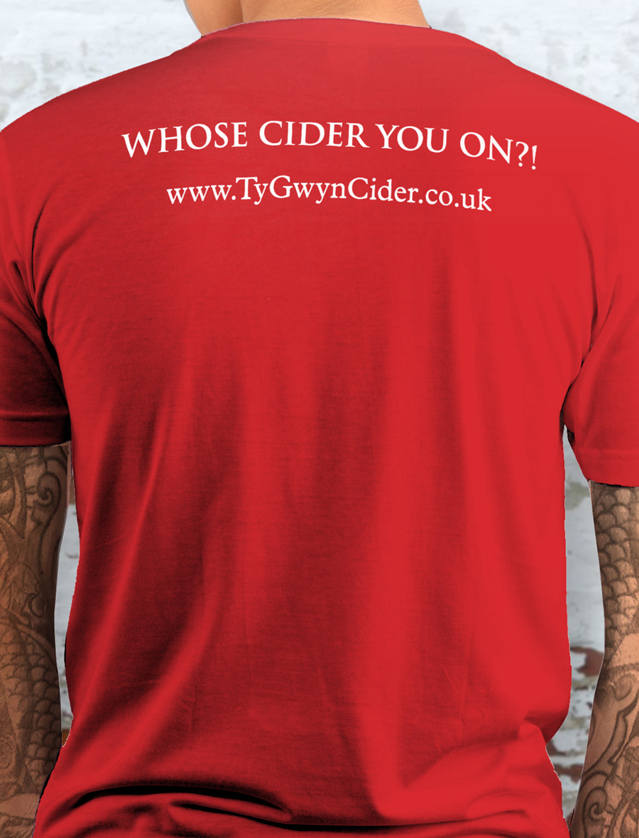 Men's Ty Gwyn Cider 'House' T-shirt in red (back)