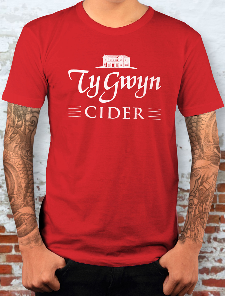 Men's Ty Gwyn Cider 'House' T-shirt in red (front)