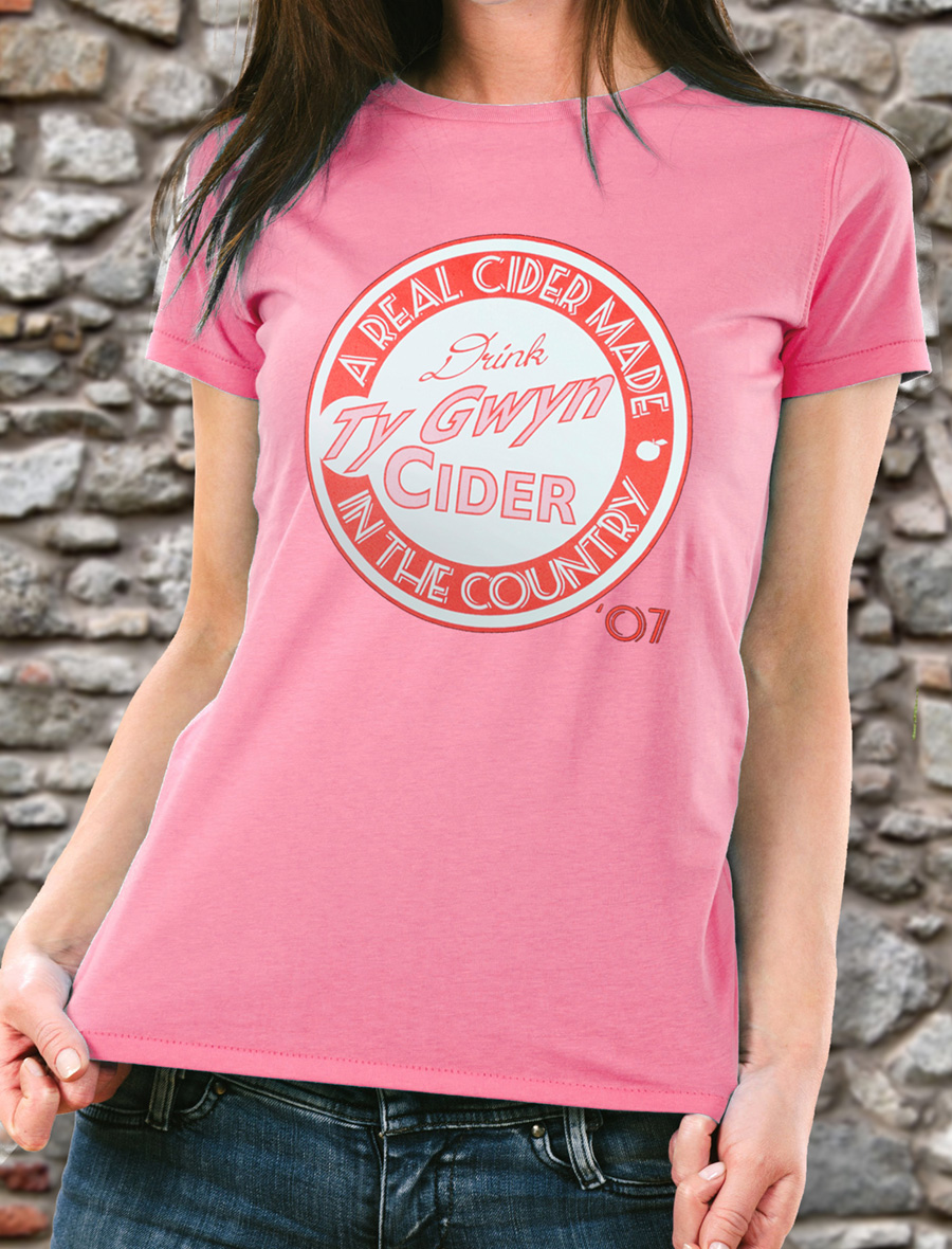 Women's Ty Gwyn Cider 'Drink' T-shirt in pink (front)