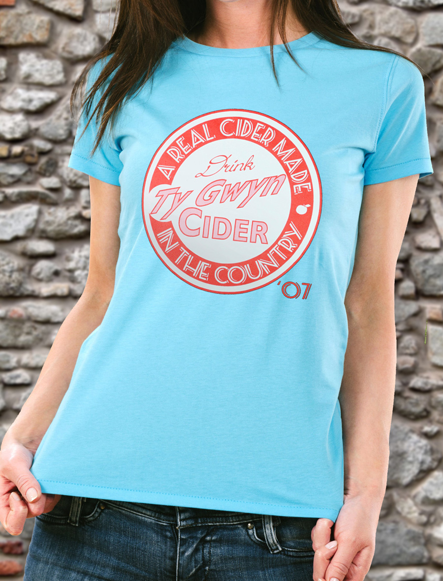 Women's Ty Gwyn Cider 'Drink' T-shirt in sky blue (front)