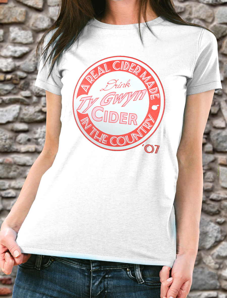 Women's Ty Gwyn Cider 'Drink' T-shirt in white (front)