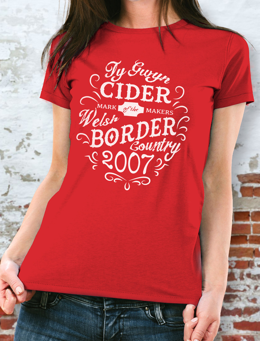Women's Ty Gwyn Cider 'Makers' T-shirt in red (front)