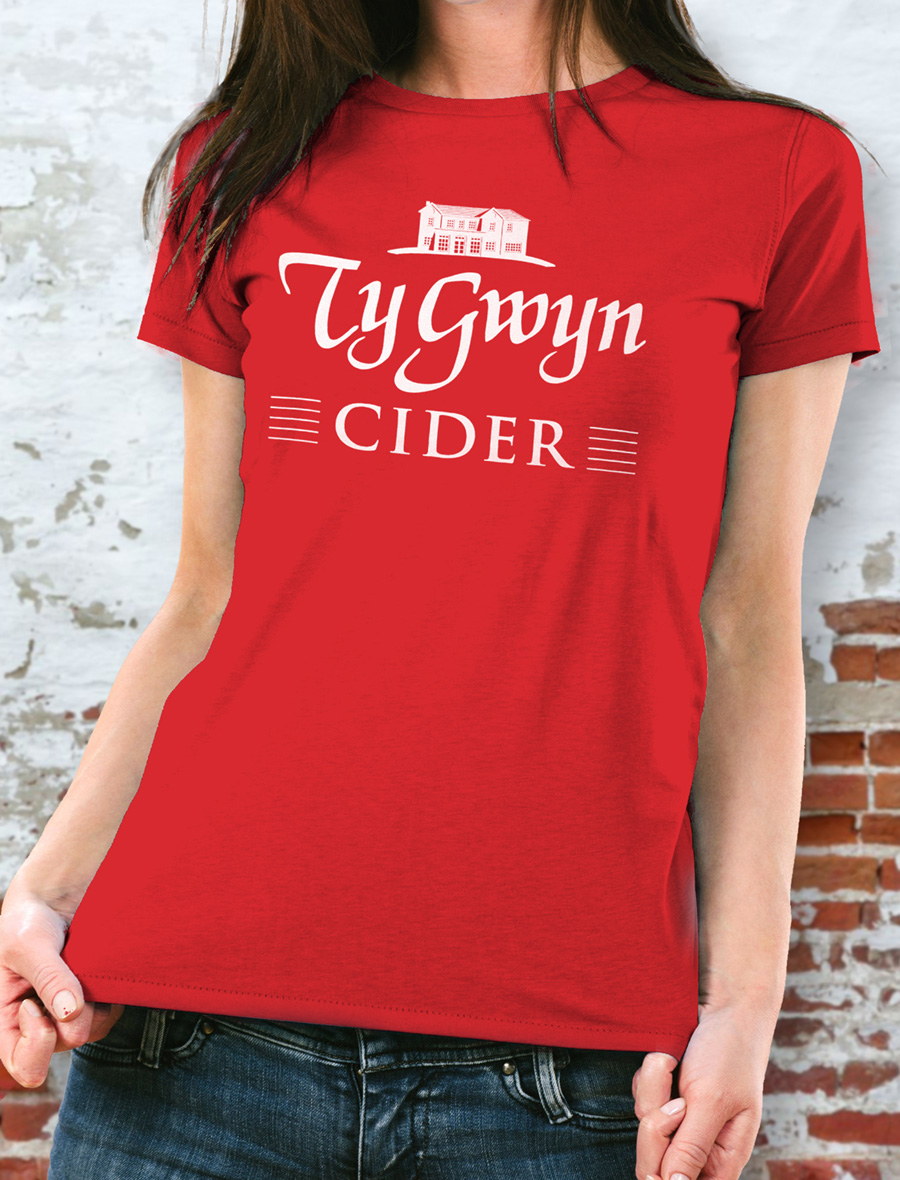 Women's Ty Gwyn Cider 'House' T-shirt in red (front)