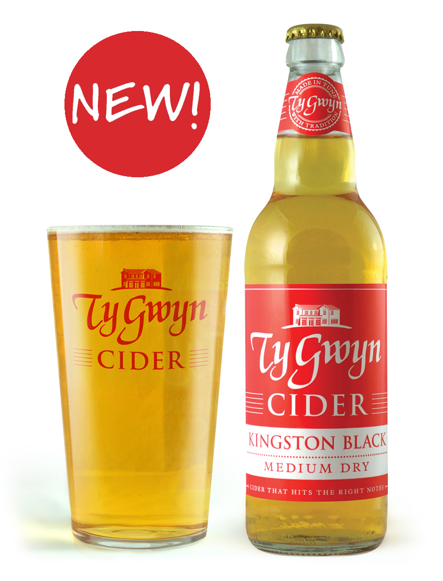 Bottle and pint of Ty Gwyn Medium Dry Cider