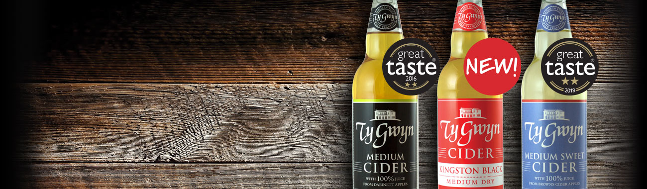 Bottles of Ty Gwyn Cider