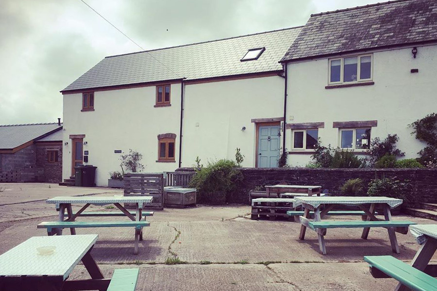 Outdoor seating at the Ty Gwyn Cider bar