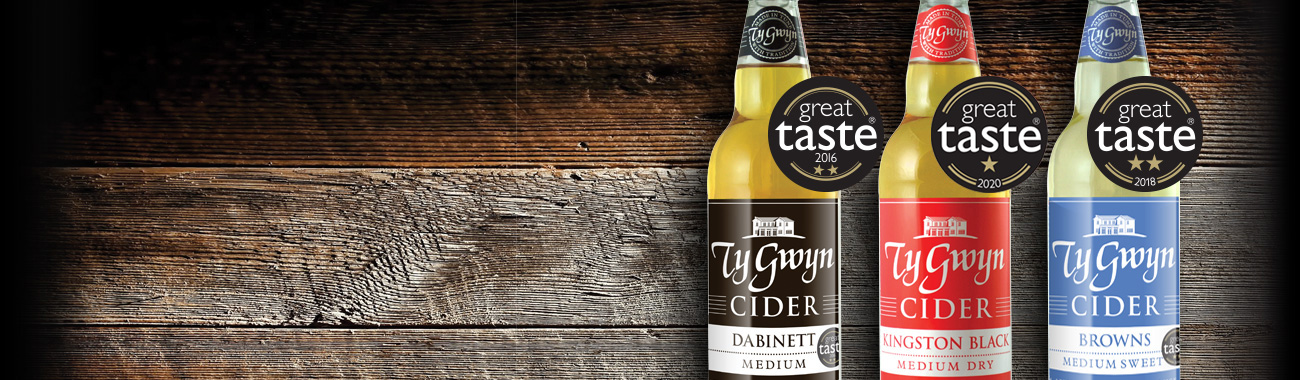 Ty Gwyn Cider bottled ciders with Great Taste awards