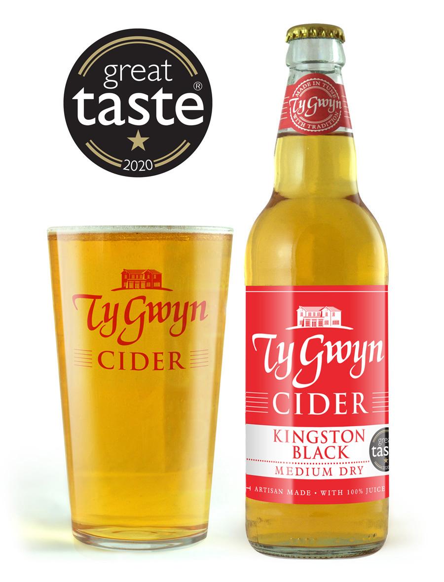 Bottle and pint of Ty Gwyn Medium Dry Cider