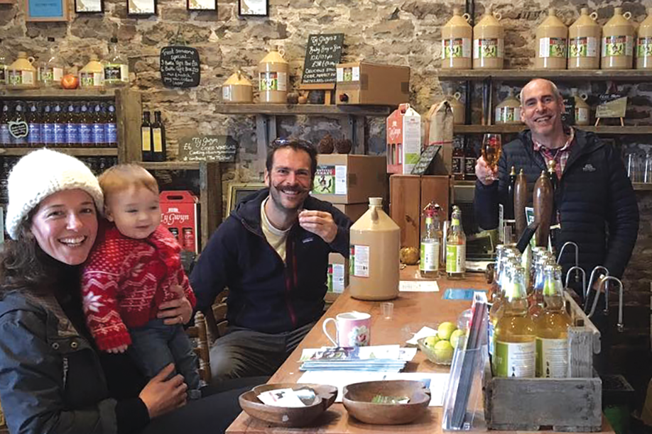 Happy cider lovers at the Ty Gwyn Cider shop