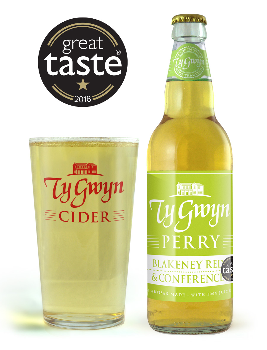 Bottle and pint of Ty Gwyn Perry